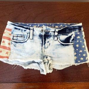 Blue Asphalt Bottoms American Flag Shorts Size 0